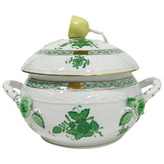 "Herend Porcelain ""Chinese Bouquet Apponyi Green"" Small/Mini Tureen with Handles"