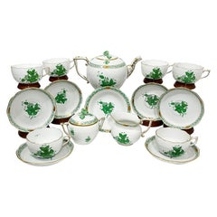"""Herend Porcelain """"Chinese Bouquet Apponyi Green"""" Tea Set for 6"""