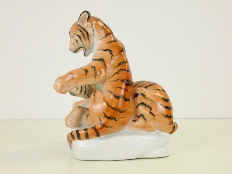 Herend Porcelain Figurine Depicting 2 Tiger Cubs For Sale 3