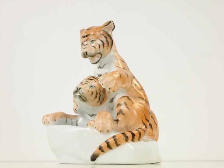 Romantic Herend Porcelain Figurine Depicting 2 Tiger Cubs For Sale