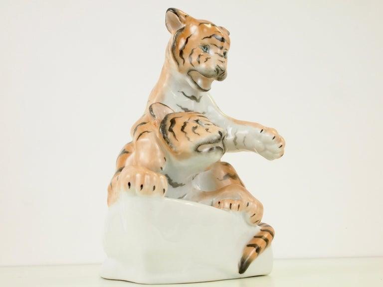 Hungarian Herend Porcelain Figurine Depicting 2 Tiger Cubs For Sale