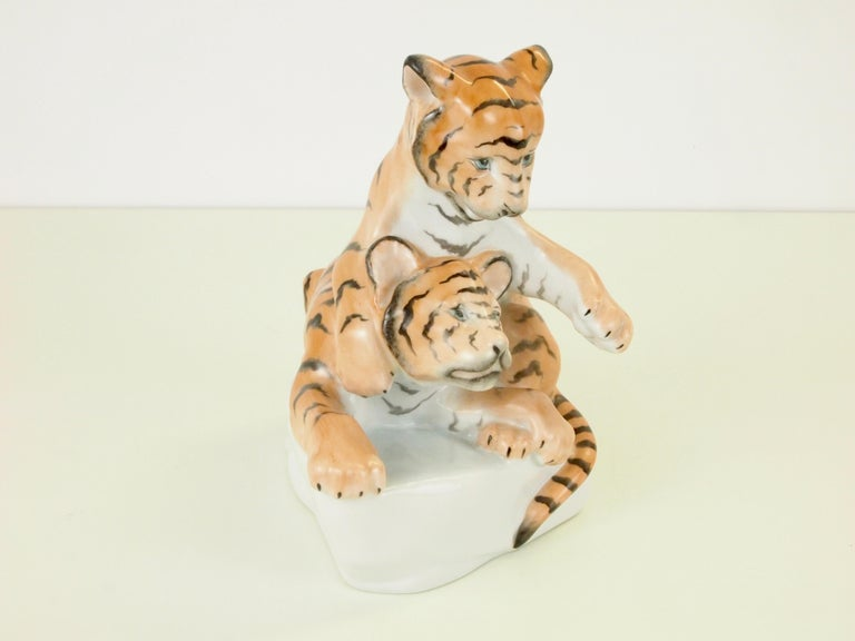 Hand-Painted Herend Porcelain Figurine Depicting 2 Tiger Cubs For Sale