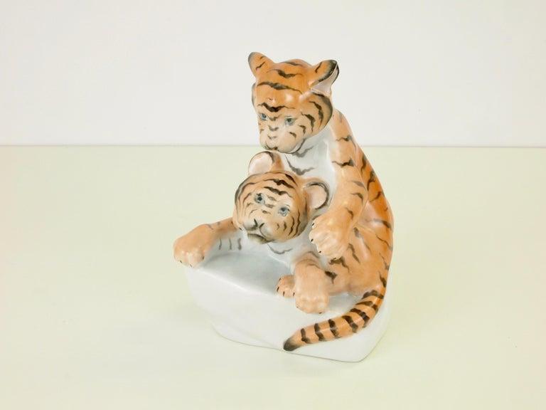Herend Porcelain Figurine Depicting 2 Tiger Cubs For Sale 1