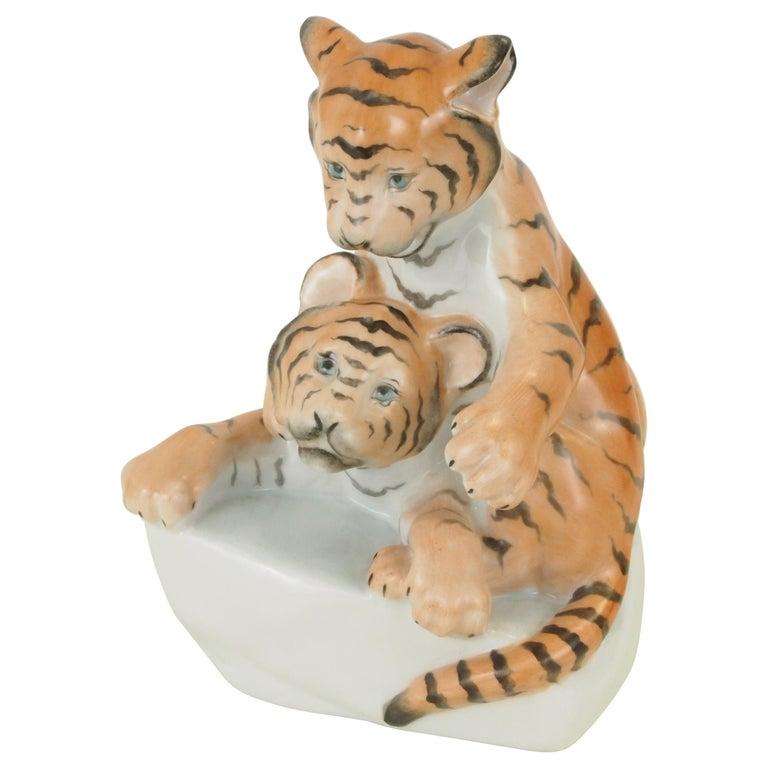 Herend Porcelain Figurine Depicting 2 Tiger Cubs For Sale