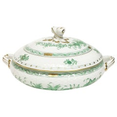"Herend Porcelain ""Indian Basket Green"" Tureen with Handles, Hungary"