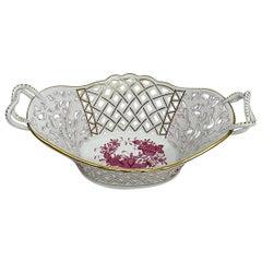 "Herend Porcelain ""Indian Basket Purple"" Large Openwork Basket with Handles"