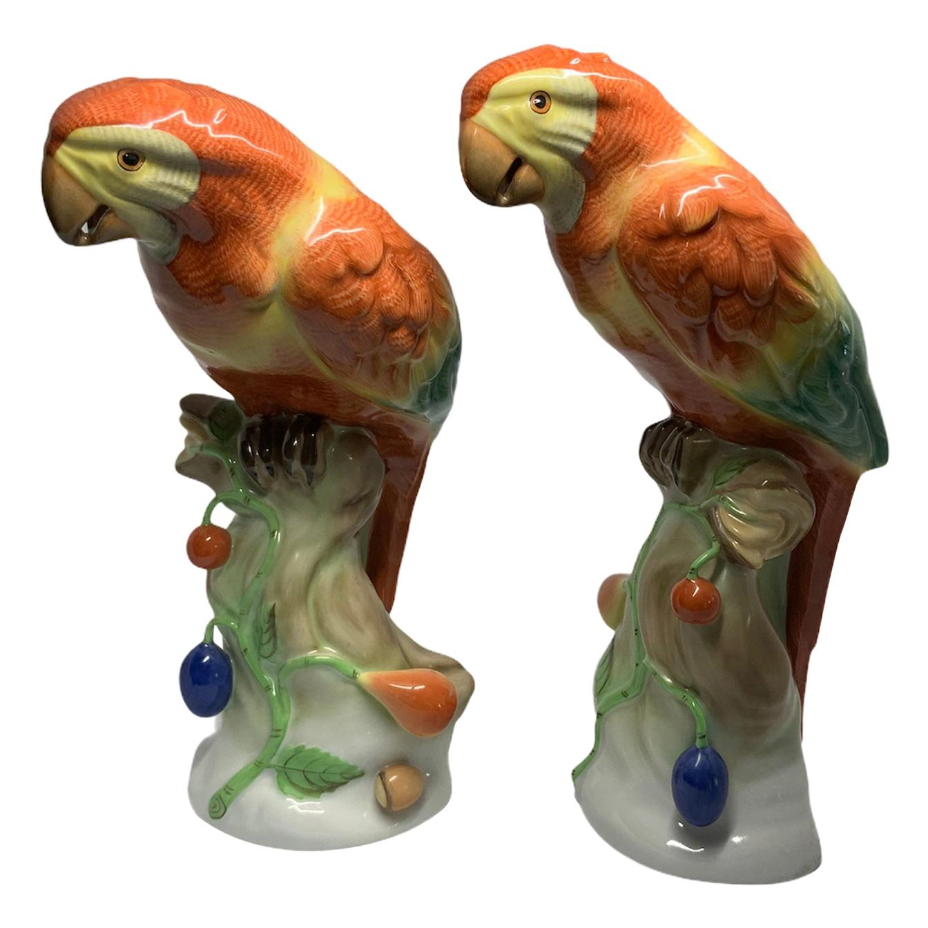 Herend Porcelain Pair of Parrots Figurines