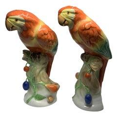 Herend Porcelain Pair of Parrots Figurines