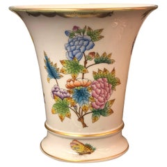 Herend Queen Victoria Fine Hand Painted Porcelain Vase