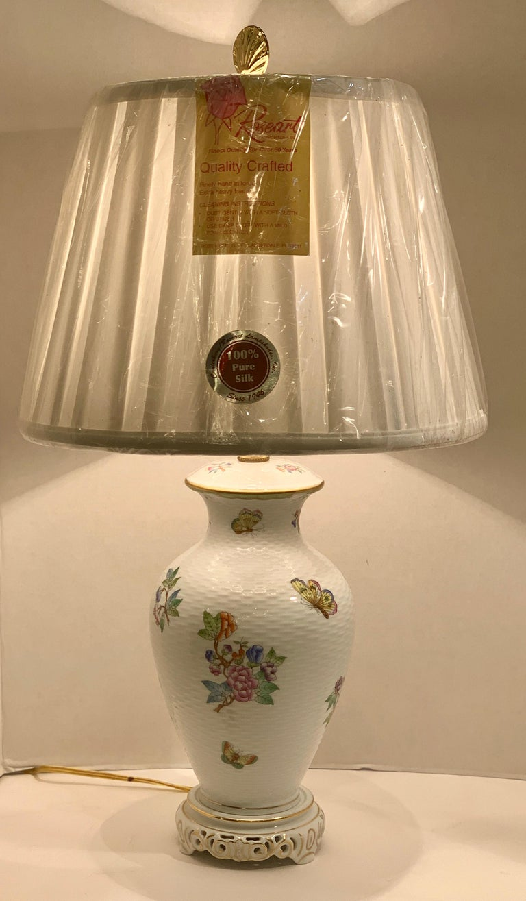Hungarian Herend Queen Victoria Hand Painted Basketweave Porcelain Pedestal Table Lamp For Sale