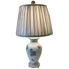 Herend Queen Victoria Hand Painted Basketweave Porcelain Pedestal Table Lamp