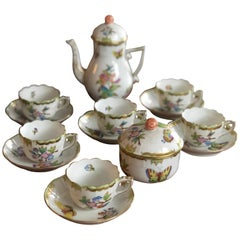 Herend Queen Victoria Porcelain Coffee or Tea Set for Six Persons
