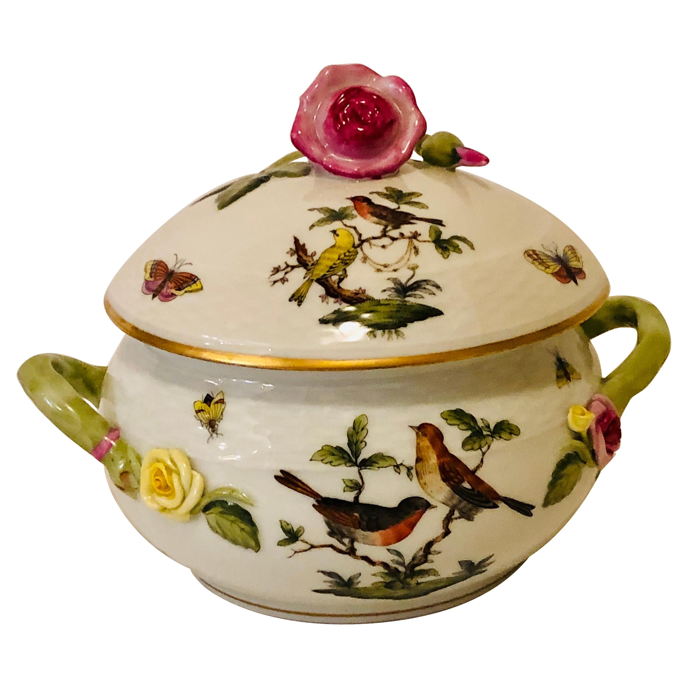 Herend Rothschild Bird Covered Bowl with Raised Pink Rose and Rose Bud on Top