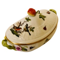 Herend Rothschild Bird Covered Sauceboat with Raised Strawberry on the Cover