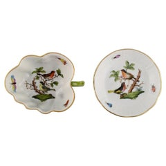 Herend Rothschild Bird, Porcelain Butter Pad and Small Bowl with Handle