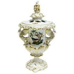 "Herend ""Rothschild"" Lidded Vase with Swan Handles"