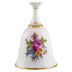 Herend Table Bell in Hand-Painted Porcelain with Flowers and Gold Decoration