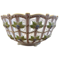 "Herend ""Victoria "" Hand Painted Porcelain Basket, Hungary, Modern"