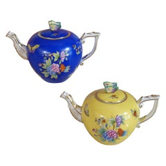 "Herend ""Victoria"" Hand Painted Porcelain Set of Two Teapot, Hungary, Modern"