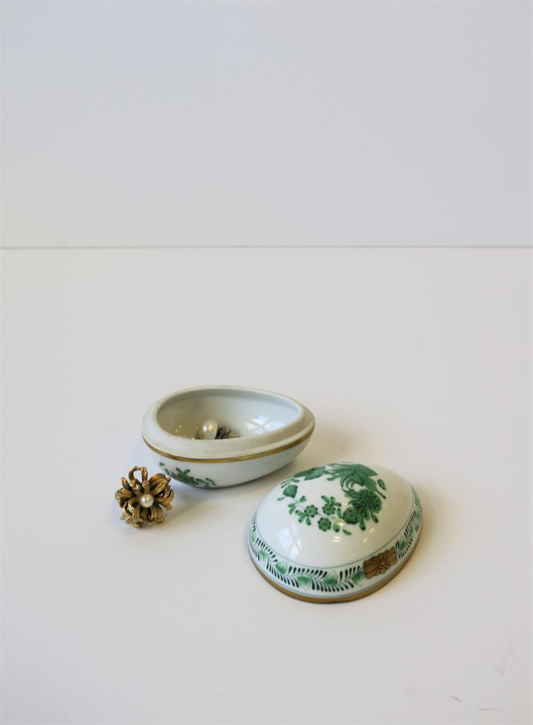 Gilt Herend White Green Gold Porcelain Egg-Shaped Jewelry Box For Sale