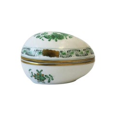 Herend White Green Gold Porcelain Egg-Shaped Jewelry Box