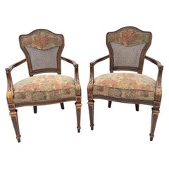 Heritage Cane Back Floral Tapestry Armchairs