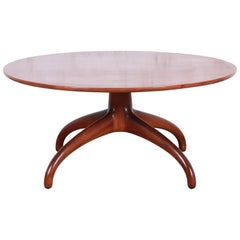 Heritage Henredon Mid-Century Modern Sculpted Walnut Cocktail Table