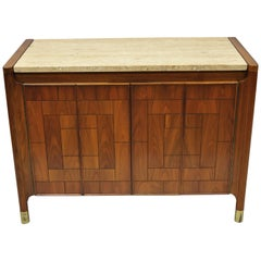 Heritage Henredon Walnut and Travertine Top Mid-Century Modern Server Cabinet