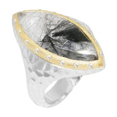 Heritage Marquise Black Tourmalated 18 Karat Gold and Silver Ring