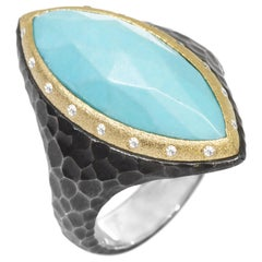 Heritage Marquise Turquoise 18k Gold & Oxidized Ring