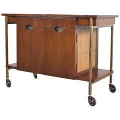 Heritage Mid-Century Modern Walnut & Cane Rolling Bar Cocktail Dessert Tea Cart