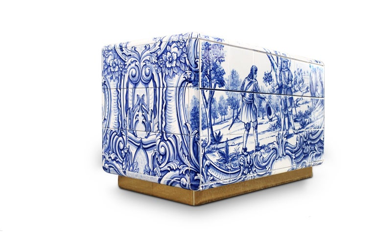The Heritage nightstand is influenced by the Azulejo, a landmark in Portuguese culture. Originating from the Arabic word zellige, this traditional hand painted tile that can be found all over the country, from churches, to houses and gardens and was