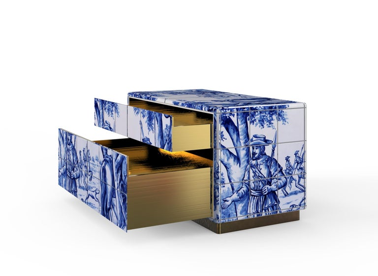 Modern Heritage Nightstand in Blue Hand Painted Tile For Sale