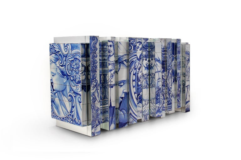 Hand-painted-tiles have gained a privileged place in architecture throughout the centuries. Portugal has adopted them like no other country has and in order to honor the Portuguese hand-painted tiles, Boca do Lobo created Heritage Sideboard. This