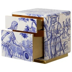 Heritage Small Nightstand in Blue Hand Painted Tile