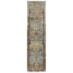 Heriz Antique Persian Runner with Blue Background and Floral Design