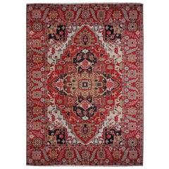 Heriz Style Azeri Rug Large Vintage Area Carpet