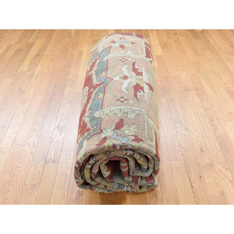 Heriz Design Hand Knotted 100 Percent Wool Oriental Oversize Rug For Sale 3