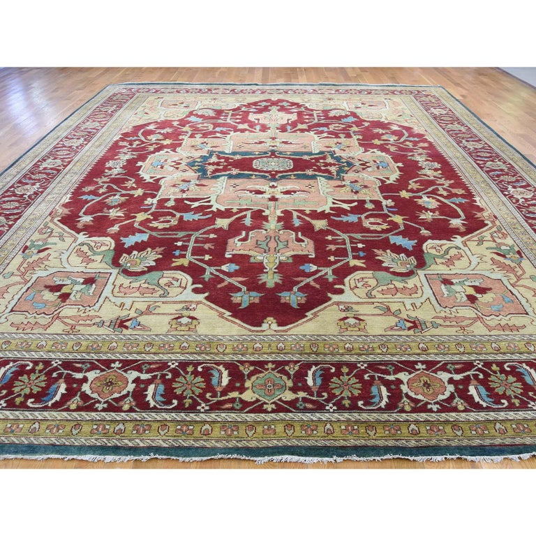Heriz Serapi Heriz Design Hand Knotted 100 Percent Wool Oriental Oversize Rug For Sale