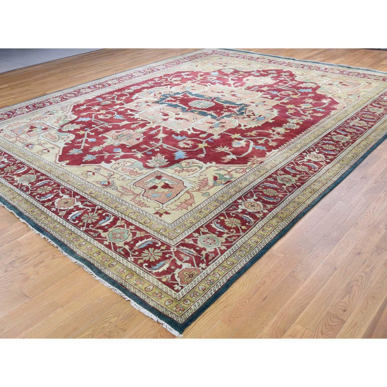 Afghan Heriz Design Hand Knotted 100 Percent Wool Oriental Oversize Rug For Sale