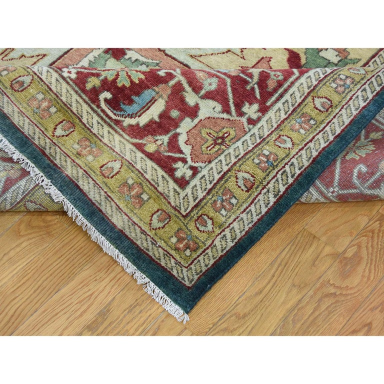 Contemporary Heriz Design Hand Knotted 100 Percent Wool Oriental Oversize Rug For Sale