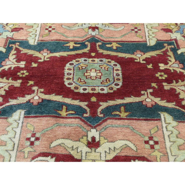 Heriz Design Hand Knotted 100 Percent Wool Oriental Oversize Rug For Sale 2