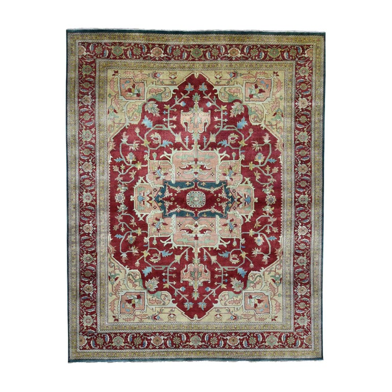 Heriz Design Hand Knotted 100 Percent Wool Oriental Oversize Rug For Sale