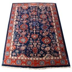 Heriz Style Azeri Rug Large Room Size Blue Vintage Area Carpet