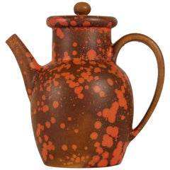 Herman A. Kähler Coffee Pot with Orange Uranium Glaze by Nils Kähler, DK, 1930s