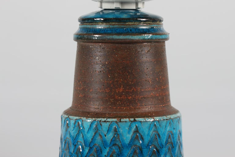 Danish Herman A Kähler Small Table Lamp with Turquoise Glaze Made in Denmark Midcentury For Sale