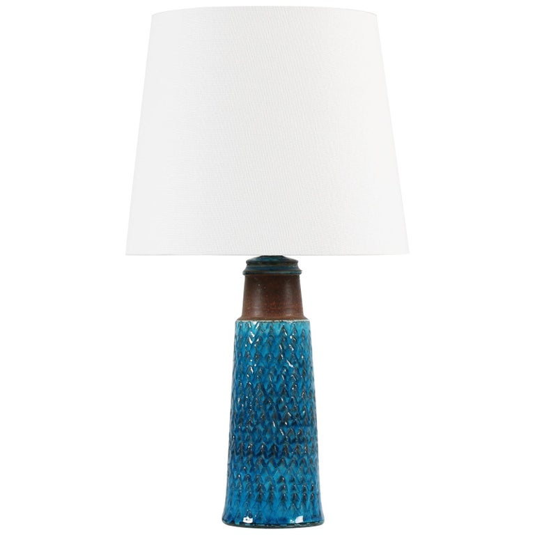 Herman A Kähler Small Table Lamp with Turquoise Glaze Made in Denmark Midcentury For Sale