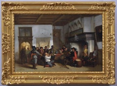 19th Century genre historical oil painting of soldiers with a prisoner