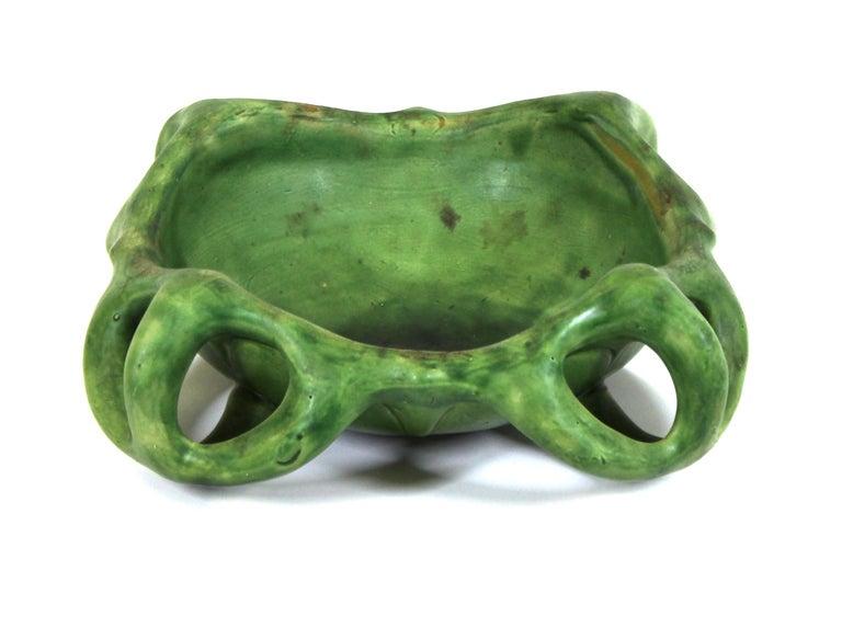 Glazed Herman Kähler Danish Art Nouveau Studio Ceramic Bowl With Green Glaze For Sale