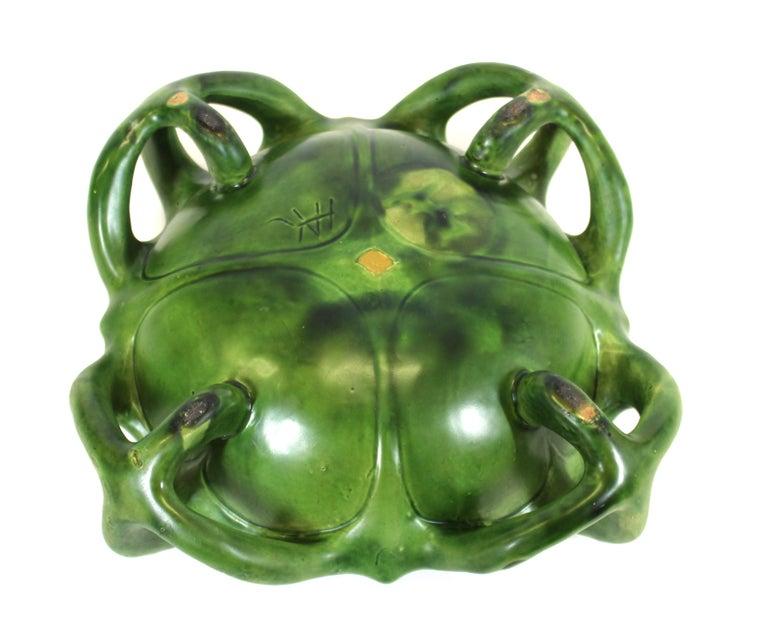 Herman Kähler Danish Art Nouveau Studio Ceramic Bowl With Green Glaze For Sale 2